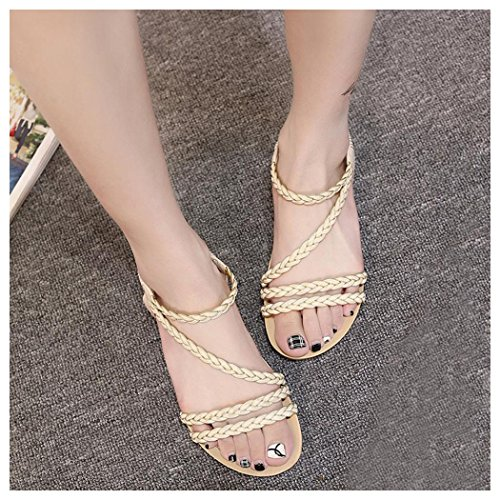 Summer Sandals, Inkach Women Summer Weave Sandals Home Sandals Beach Flat Shoes Beige