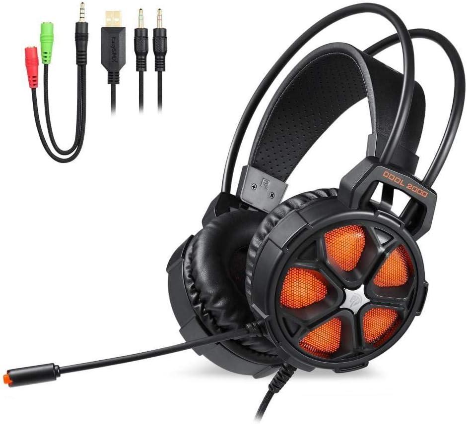 AOVOI Computadora Headset, Headset Gaming Computer Notebook Headset Interfaz de 3.5mm Micrófono estéreo con Cable (Naranja): Amazon.es: Jardín