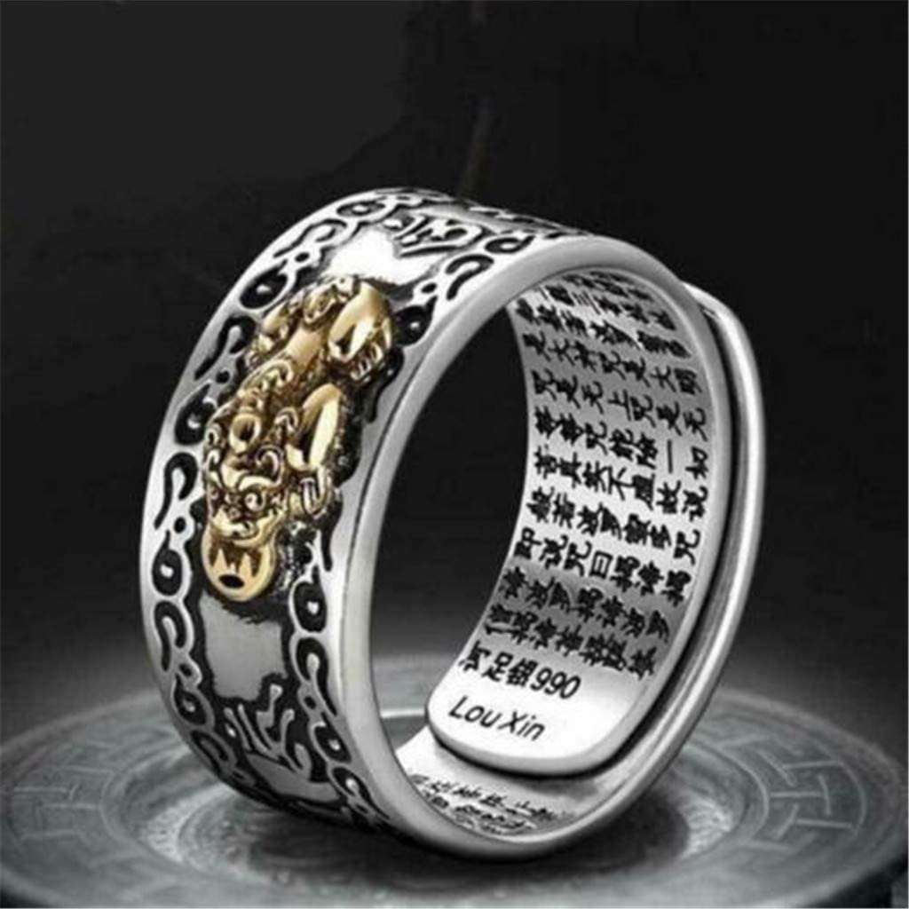 Womens Luxury Rings Pixiu Charms Ring Feng Shui Lucky Wealth Buddhist Jewelry Adjustable Ring for Girlfriend Mother