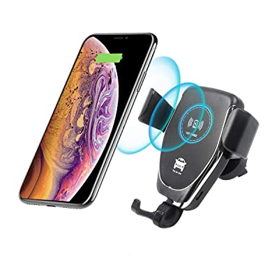 Vech Wireless Car Charger, 10W Fast Wireless Charger Car Charger Mount Car Air Vent & Dashboard Universal Phone Holder Clamping Wireless Car Charger Compatible with iPhone 8/8 Plus/X/XS/XR/X