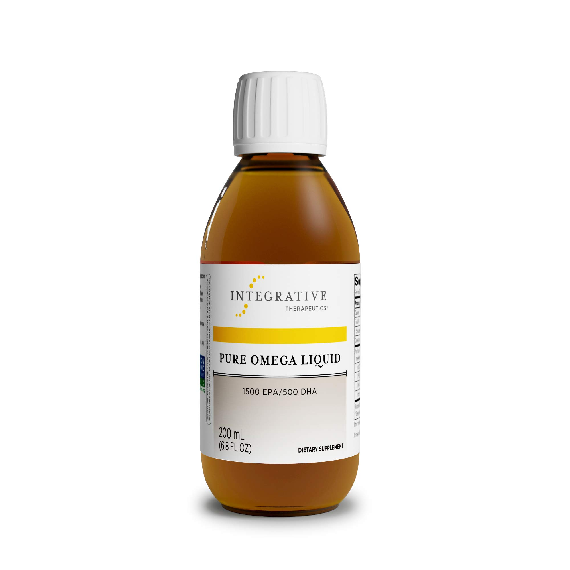 Integrative Therapeutics - Pure Omega Liquid Fish Oil - Natural Lemon Flavor - 2300 mg Omega 3 Fatty Acids with EPA and DHA - Wild Fish Oil - No Fishy Burp Back - 6.8 fl oz by Integrative Therapeutics