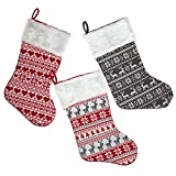 Set of 3 Christmas Stockings Cable Knit Holiday Stocking, Red White and Grey Colors with Reindeer, Tree, Heart and Snowflake Design by Gift Boutique