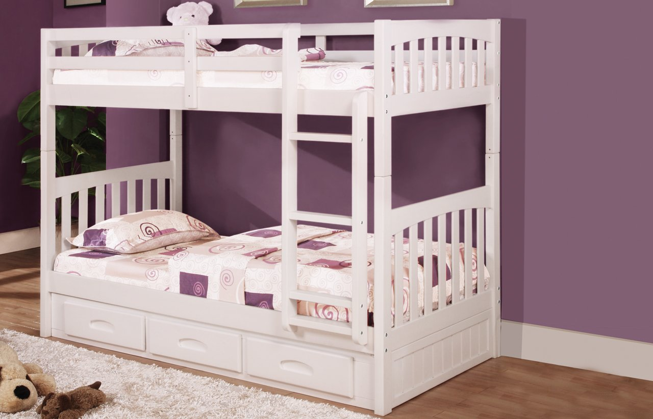Twin Over Twin Bunk Bed with 3 Drawers, Desk, Hutch, Chair and 5 Drawer Chest in White Finish