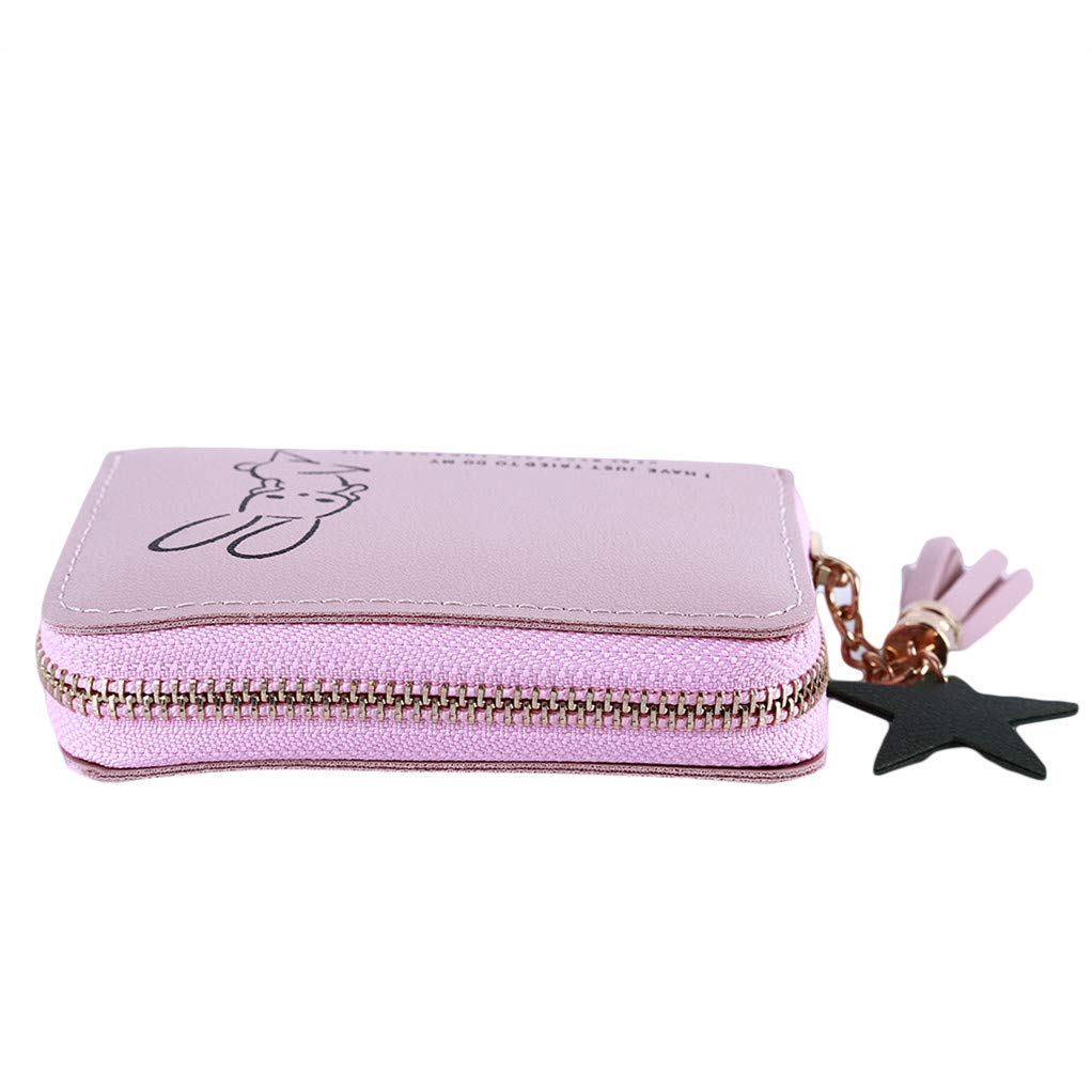 SEVENHOPE Zipper Coin Handbags Credit Card Organizer Cute Rabbit Bag Clutch Handbag