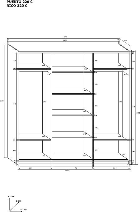 Marca nueva, moderna, 3 puertas, armario con espejo ancho: 220 cm, altura: 216 cm, profundidad: 65 cm).: Amazon.es: Hogar