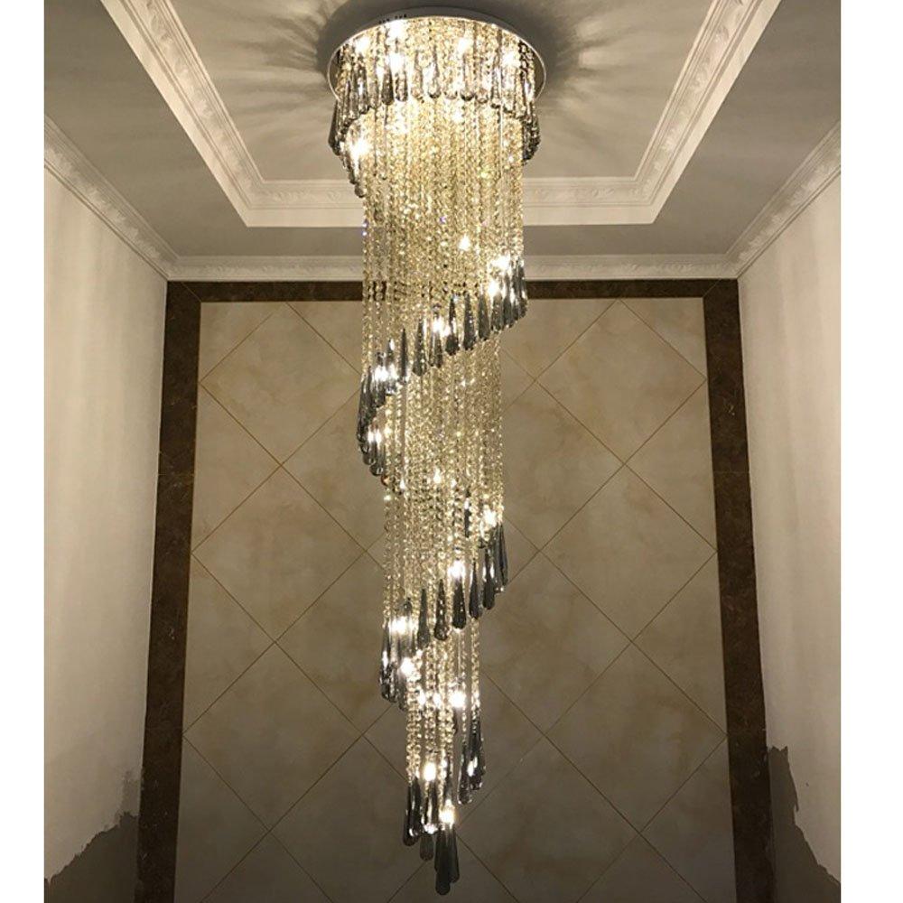 Wenrun Lighting Treppen Wohnzimmer LED 3 Helligkeit K9 Kristall und Chrom Spiegel Edelstahl Kronleuchter Deckenlampen Hängelampe Lüster Leuchte Lampen Licht Mit LED Glühbirne und Fernbedienung