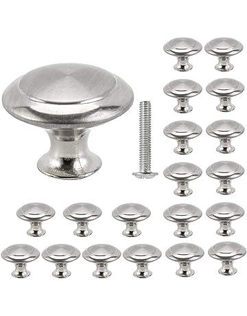 20pcs Cabinet Door Knobs Round Mushroom Shape Pull Handle Stainless Steel  Brushed 30mm for Drawer Door 18428cdfffae