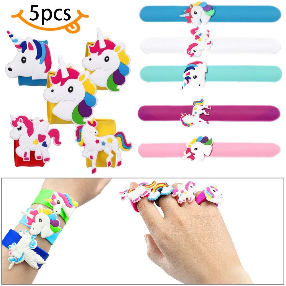 SPECOOL 5 Paquetes Unicorn Slap Bracelet Pulseras de silicona, Unicorn Party Supplies Kids Party Favors Decoraciones Cute Unortised Unicorn Wristbands Novedad Toy School Prize Gifts Niños Goodie Bag Fillers