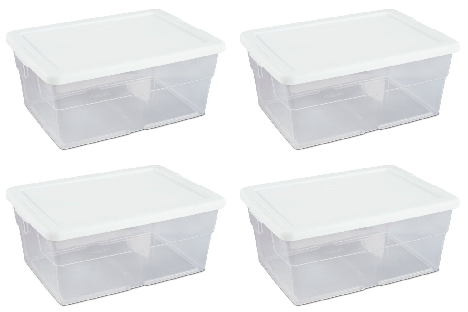 Sterilite 16448012 16-Quart Storage Box, White Lid with See-Through Base (Pack of 4) by STERILITE 1644PK4