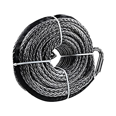 """3/8"""" x 95' Gray Synthetic Winch Line Cable Rope 20000LBs+ Sheath Thimble ATV UTV Truck Boat Replacement"""