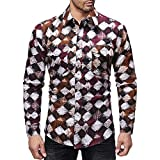 PASATO Classic Men's Autumn Winter Casual Print Pullover Long Sleeved T-Shirt Top Blouse Clearance Sale(Multicolor, XL=US:L)