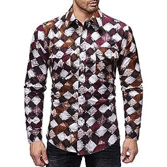 ♚Camisa a Cuadros de los Hombres,Jersey de Manga Larga con Cuello en V de la Blusa de Invierno de impresión Casual Absolute