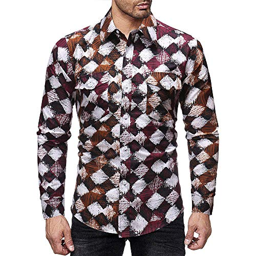 PASATO Classic Men's Autumn Winter Casual Print Pullover Long Sleeved T-Shirt Top Blouse Clearance Sale(Multicolor, XL=US:L) by PASATO