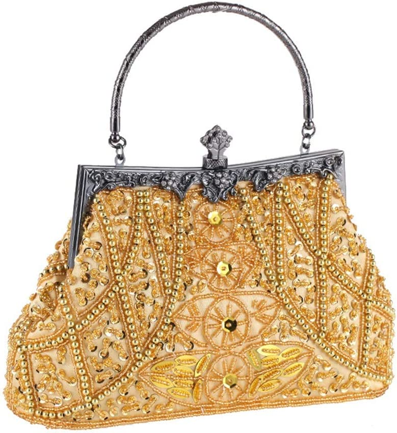 Womens Evening Clutch Handbags Women Clutches Beading Evening Bag Clutch Purse Bags Special Occasion Evening Handbags Wedding Party Purse Color : Gold