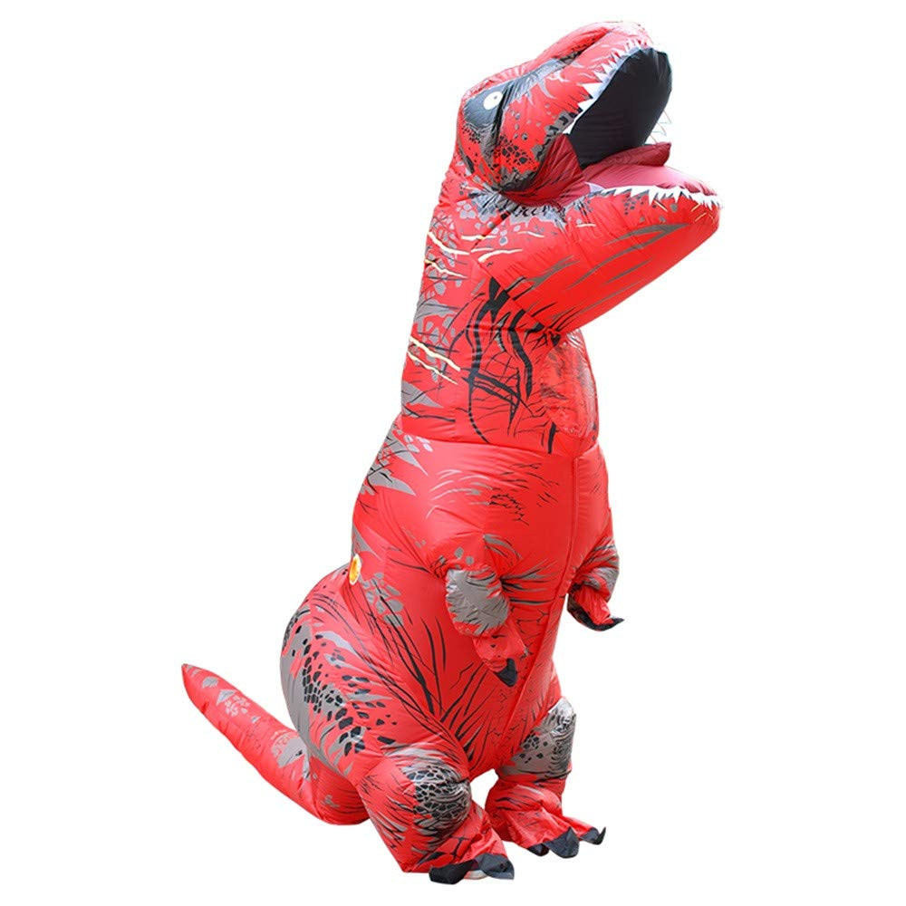 Cywulin Adult Inflatable T-rex Costume, Dinosaur Shape Halloween Cosplay Suit Dino Theme Party Dress Adult Size T Rex Suit (Red)