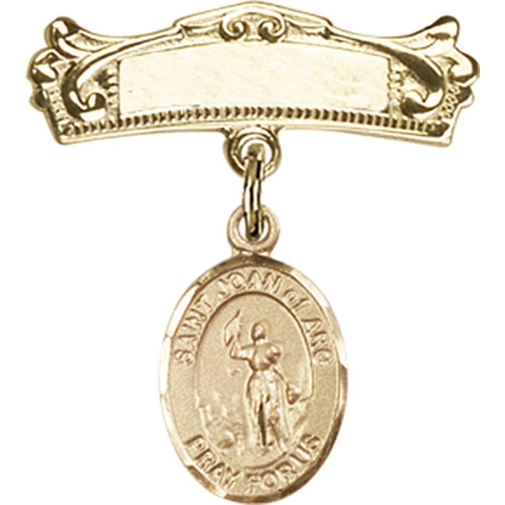 ゴールドFilled Babyバッジwith聖Joan of Arcチャームとアーチ型光沢バッジピン7 / 8 x 3 / 4インチ   B00PQ7R5EQ