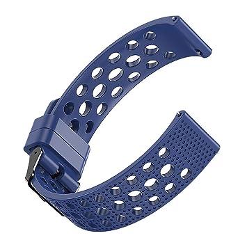 Ceston Respirable Deporte Silicona Clásico Correas para Smartwatch Amazfit GTR (47mm, Azul)