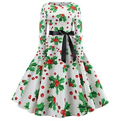 Women Christmas Dress Vintage, Vanvler Ladies Long Sleeve Swing Dress Print Evening Party Tea Dress : Sports & Outdoors