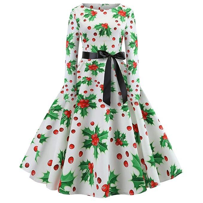 Christmas Evening Party.Zefotim Women S Vintage Print Long Sleeve Christmas Evening Party Swing Dress