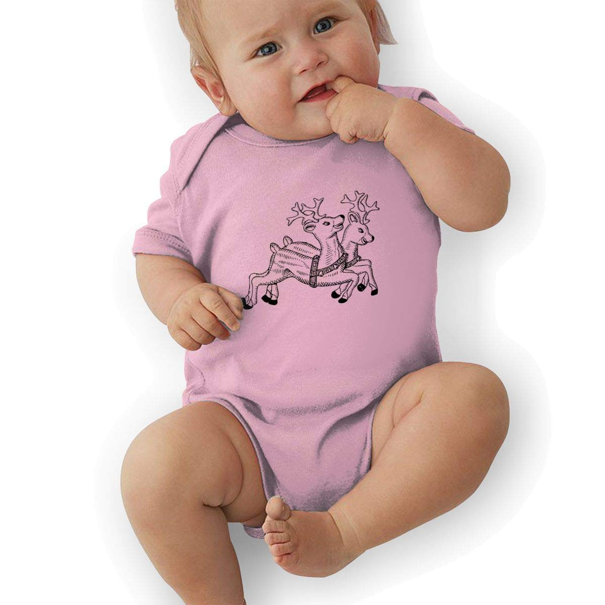 Infant Baby Girls Bodysuit Short-Sleeve Onesie Christmas Reindeer Ink Painting Print Rompers Summer Pajamas