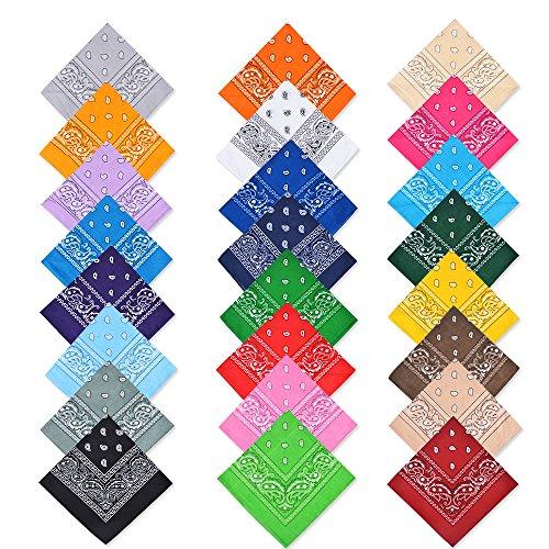 Cotton Bandanas,Alotpower Paisley Cowboy Bandana Party Favor Scarf Headband Handkerchiefs (24 Pack)