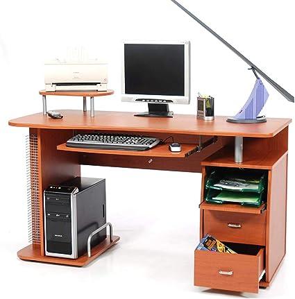 Grigio BAKAJI Scrivania con Cassettiera 4 Cassetti Tavolo da Lavoro Porta Pc Computer in Legno MDF Arredamento Casa Ufficio Cameretta Design Moderno Dimensione 110 x 56 x 73 cm