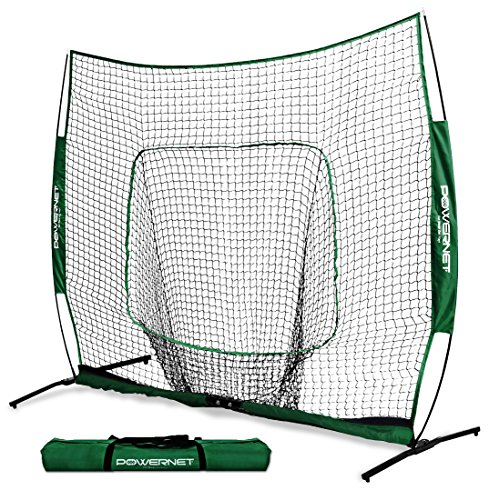 (PowerNet 8x8 XLP PRO Net with One Piece Frame (Green) | Huge Baseball Softball Hitting Pitching Area | Great for Teams | Batting Fielding Portable Backstop | Non-Tip Weighted Base | 8 x 8 (64SqFt))