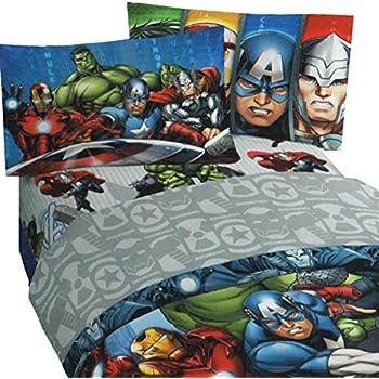 4pc Marvel Avengers Full Bed Sheet Set Superhero Halo Bedding Accessories