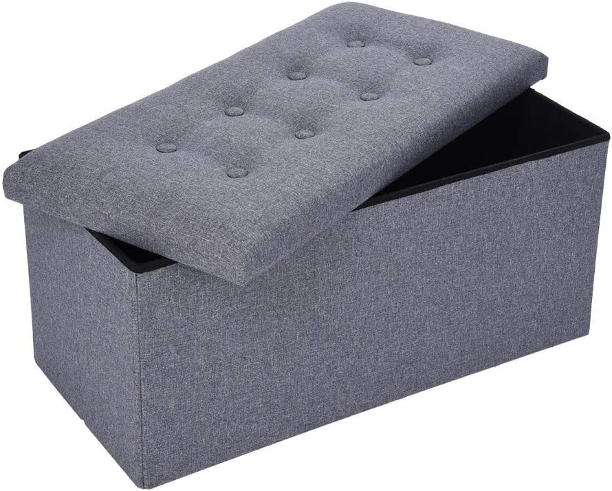 """DOYCE Foldable Tufted Linen Large Storage Ottoman Bench Foot Rest Stool/Seat - 30"""" x 15"""" x 15"""""""