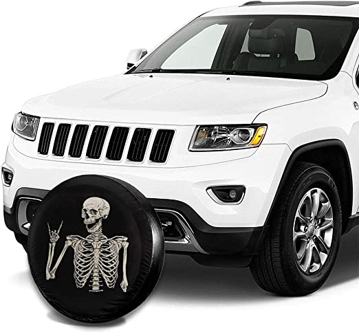 SUV Rock N Roll Skull Hand Spare Tire Wheel Cover Waterproof Dust-Proof Universal Tire Covers Jeep RV Truck and Many Vehicles 14 15 16 17 Trailer