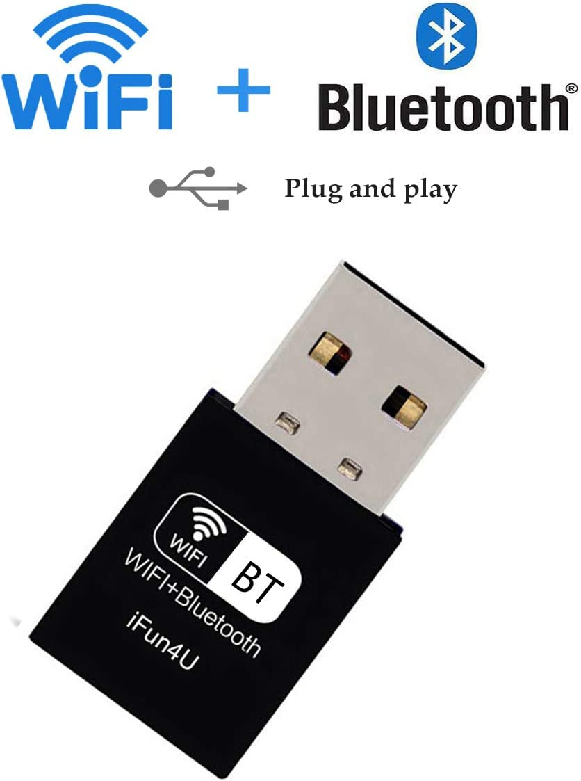 USB 5G WiFi Bluetooth 4.2 Adapter, Wireless 600M WiFi Dongle Network Adapter with External Antenna for Desktop/Laptop/PC (Driver Free 1)