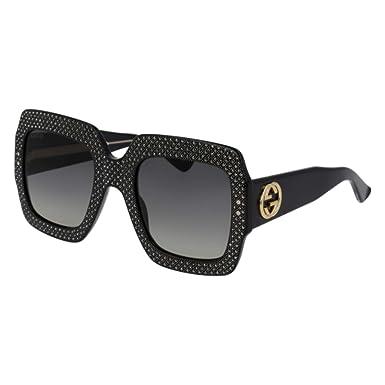 c047b9aac80 Amazon.com  Gucci GG 0048 S- 003 BLACK   GREY Sunglasses  Clothing