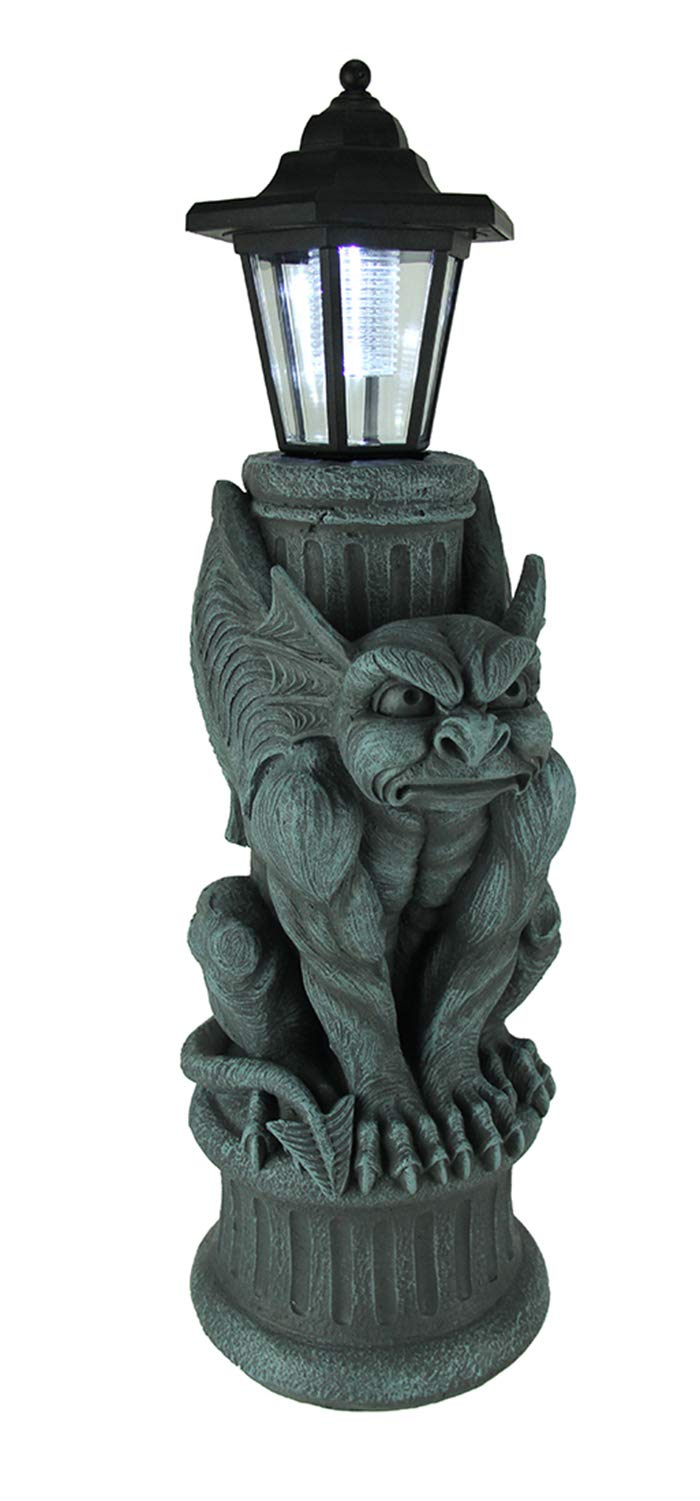 World Of Wonders Resin Outdoor Figurine Lights Gothic Guardian Gargoyle Led Solar Light Garden Statue 7.5 X 20 X 5.75 Inches Blue