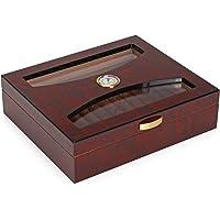 Woodronic Handmade Cigar Humidor Spanish Cedar for 25 Counts, Glass Top Cigar Box Set with Hygrometer and Humidifier, Bubinga Finish