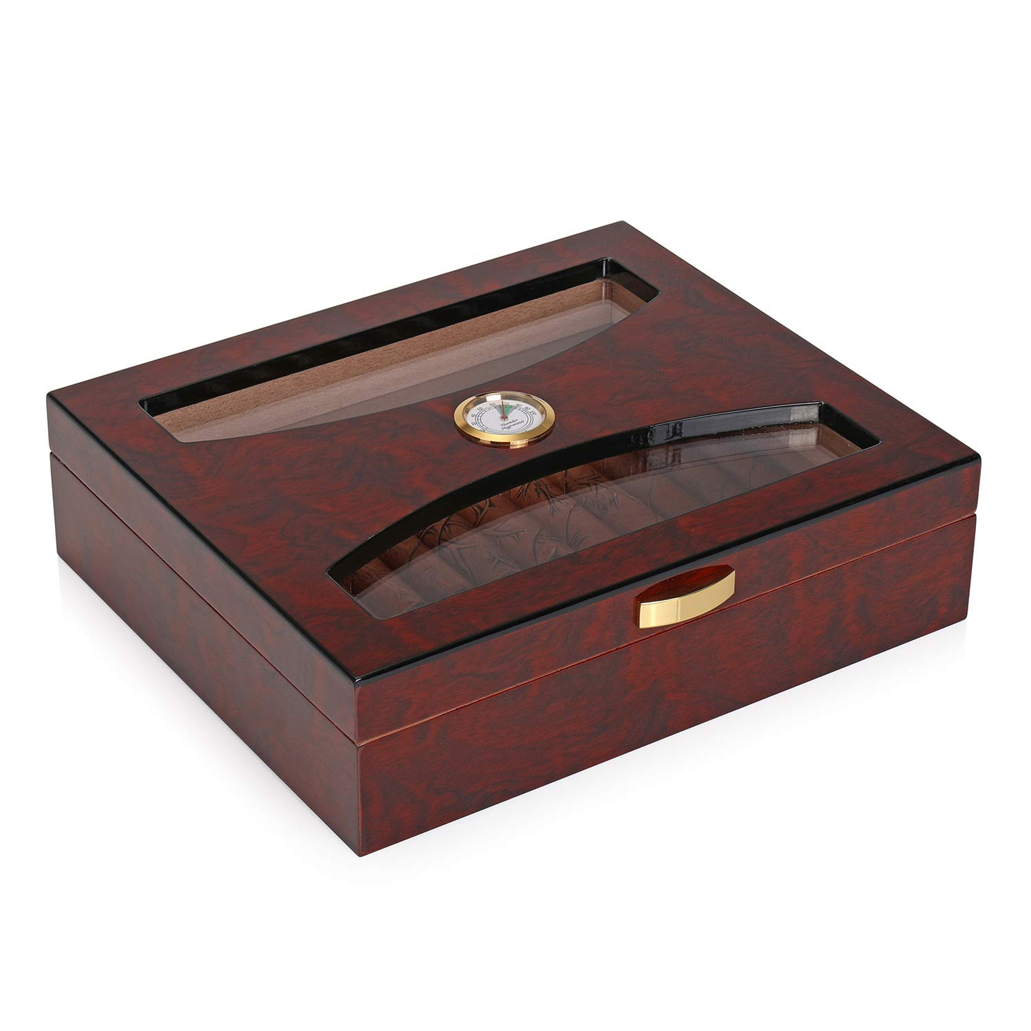 Woodronic Glasstop Cigar Humidor, Mahogany with Spanish Cedar Wood Lined for 25 Cigars, Perfect Desktop Display Cigar Box Set with Hygrometer and Humidifier, A-5036