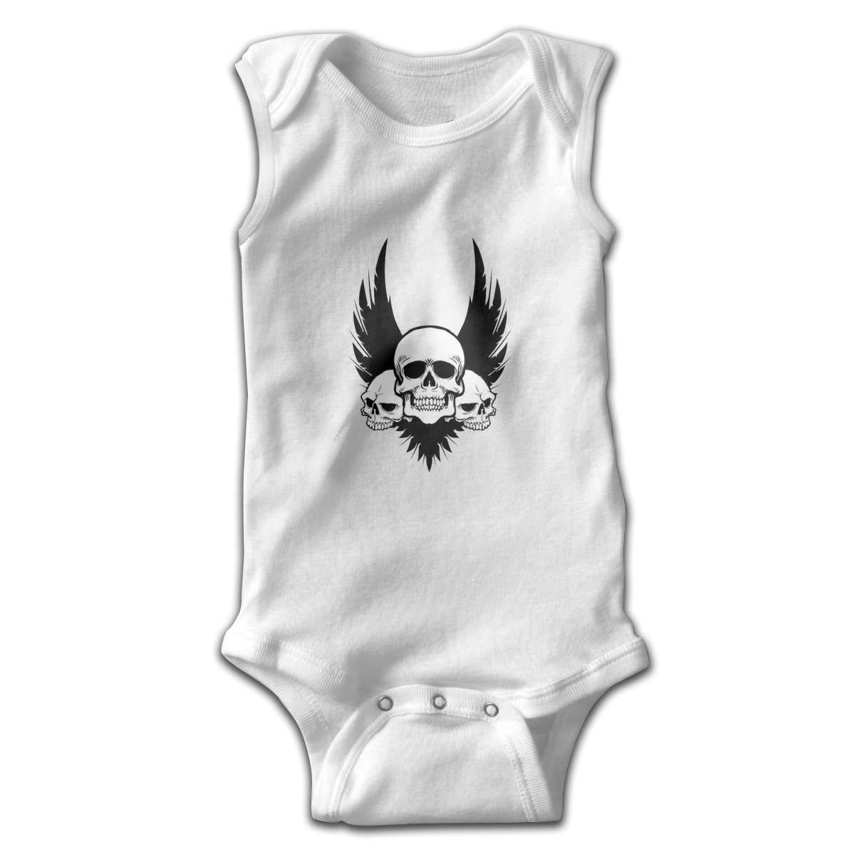 Dfenere Skull Newborn Baby No Sleeve Bodysuit Romper Infant Summer Clothing White