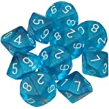 Dices - TOOGOO(R)10-Dices D10 Ten Sided Gem Dice Die for RPG Dungeons&Dragons Board Table Games Transparent Blue