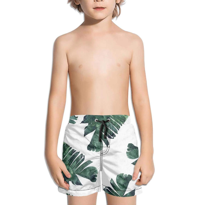 Etstk Tropical Plant Banana Leafs Kids Durable Beach Shorts for Students