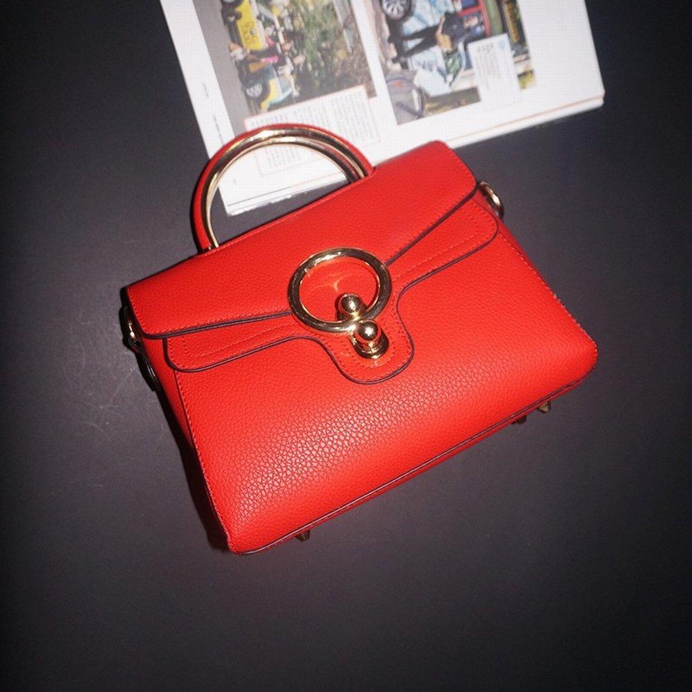 Leder Handtaschen Rindleder Ring-Paket Mode Retro Weibliche Handtasche Einfache Messenger Bag Handtaschen , rot