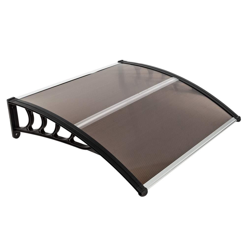 Goujxcy Window Door Awning,40''x 40'' Window Awning Overhead Door Polycarbonate Cover Front Door Outdoor Patio Canopy Sun Shetter,UV,Rain Snow Protection Hollow Sheet