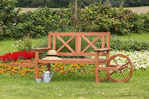 Carretilla Banco de jardín con rueda de 2 sizter, eucalipto barnizada: Amazon.es: Jardín