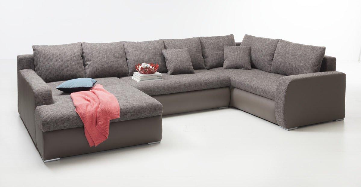 Ecksofa in UForm elefantgrau Sofa Garnitur Eckcouch Sitzecke günstig