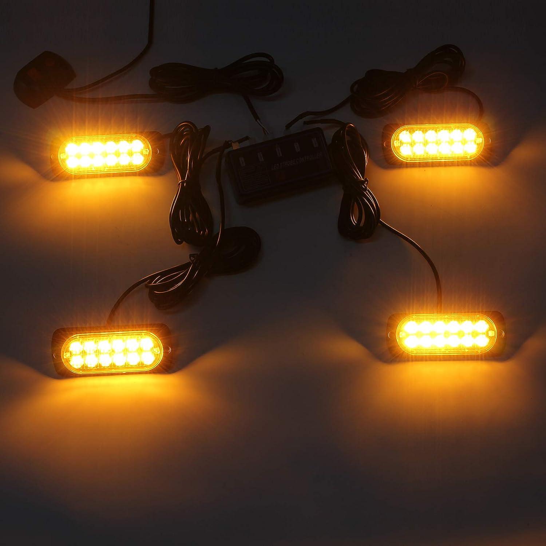 Forklift ect. Fugen 4pcs LED Strobe Lights 12led Waterproof Led Warning Lights Amber Emergency Led Beacon Strobe Light for 12V//24V Trucks Lorrys Tractors