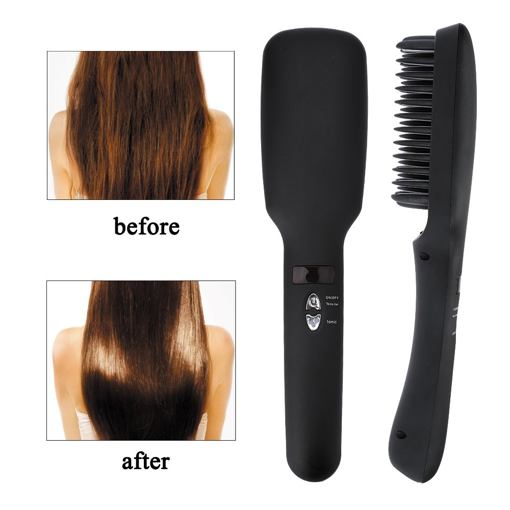 Anself Cepillo iónico de pelo,2 en 1 peine y plancha para alisar cabello (LED pantalla,de silicona y PTC,enchufe UE,color negro): Amazon.es: Belleza