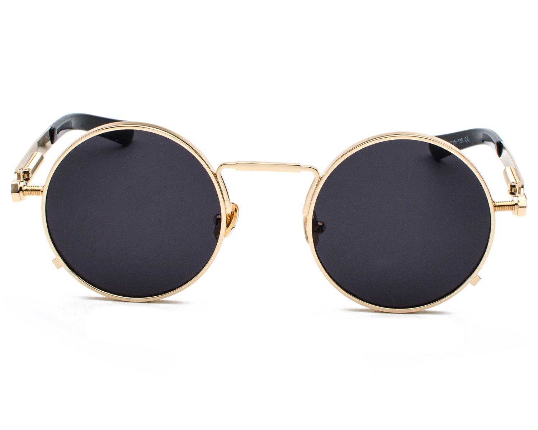 Gothic Polarized Round Retro Sunglasses Steampunk Sunglasses Flip Up Sunglasses Non-Polarized) Red Peony