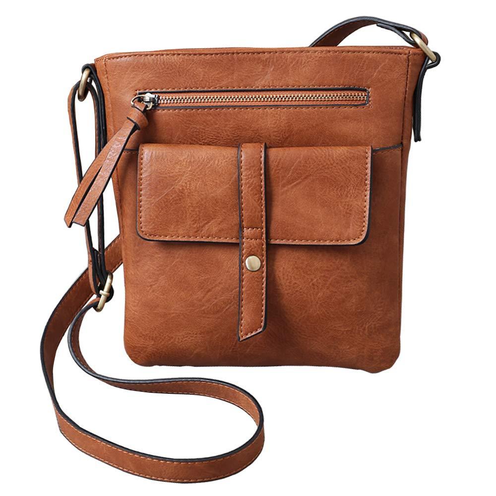 FanCarry Women's Small Front Flap Solid Crossbody Purse Shoulder Bag Travel Satchel (Apricot)