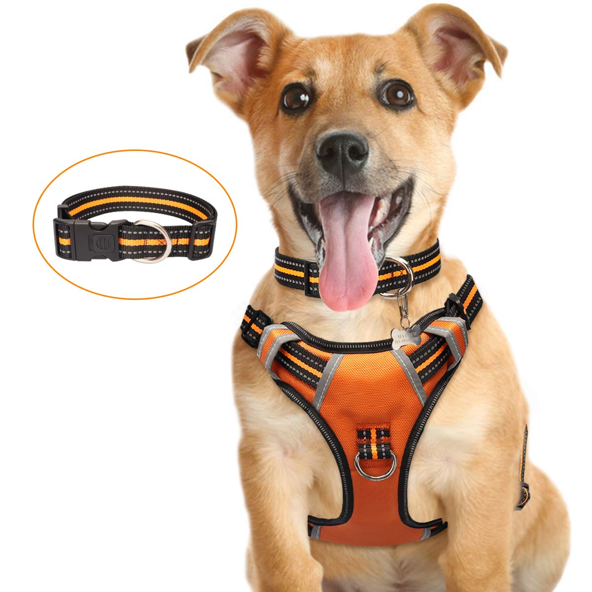 Large Medium Pet Harnesses with Dog Collar Easy Control Handle for Walking WINSEE Dog Harness No Pull Adjustable Reflective Oxford Outdoor Vest Front//Back Leash Clips for Small Extra Large Dogs