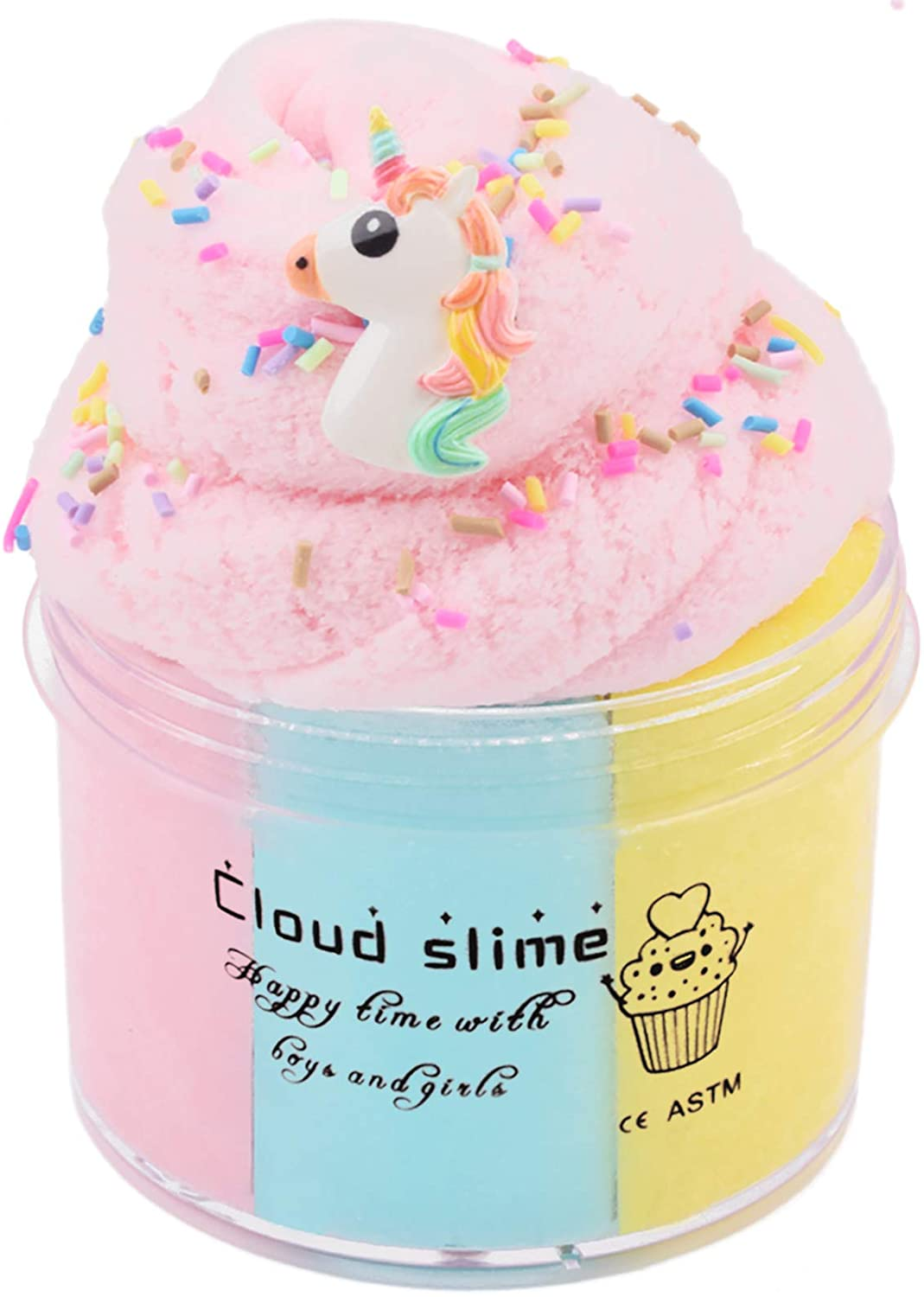 3 Colored Cloud Slime Scented Fluffy Floam Slime, Premade Slime Stretchy Candy Putty DIY Mud Sludge Toy Birthday Gifts Party Favor for Boy Girl (Multi 3 Colors)