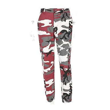 2331153f425 Women Camouflage Pants Casual Pink Camo Sweatpant Gray Orange Camo Pants  High Waist Trousers at Amazon Women s Clothing store