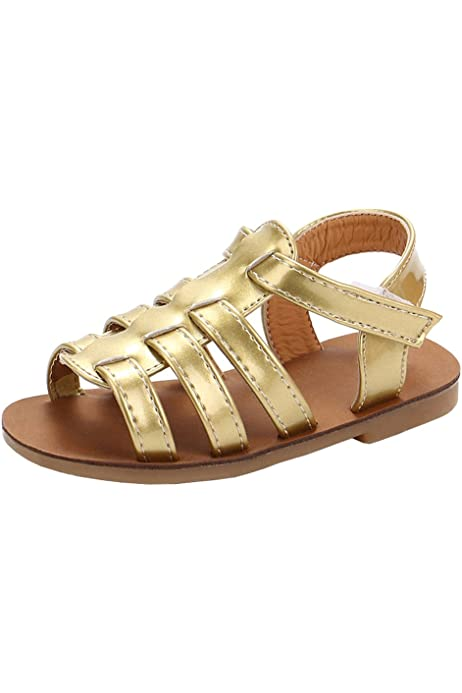 lakiolins Baby Girls Summer T-Strap Bowknot Gladiator Sandals Open Toe Beach Flat Shoes